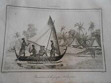 Gravure 1838 Océanie Polynésie vue d'une ile du groupe Krusenstern