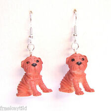 "NEW Shar Pei Dogs Puppies 1"" Mini Figures Figurines Dangle Earrings"