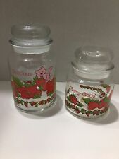 Strawberry Shortcake Set of 2 Lidded Glass Jars 1980's American Greetings