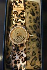 WATCH/SCARF SET BROWN OR PURPLE LEOPARD/AUSTRIAN CRYSTAL/STAINLESS STEEL/SILK