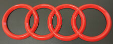 AUDI RINGS RED GLOSS REAR BOOT TRUNK BADGE LOGO EMBLEM STICKER 192mm X 62mm
