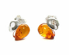 Genuine baltic amber silver 925 studs earrings.
