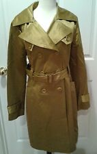 Women's BEBE Trench Coat Jacket Size L Large Shiny Pea Olive Green