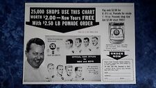 Rare 1940's L B POMADE Official Hair Styles Chart Drawings Barbershop Sign