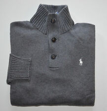 New Men's Polo Ralph Lauren 3 Buttons Pullover Sweater Gray L, Large