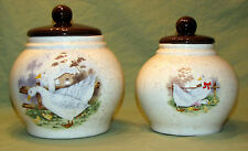 2 Vintage Stoneware Canisters Geese Country Farm House Kitchen Speckled Glaze