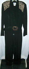 Via Sant Andrea black with gold embellished braid dressy l.s jumpsuit size 14 EC