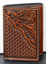 Floral & Basket Weave Leather Western Billfold Wallet Trifold Tri-fold