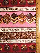 Chocolate Truffles Candy Cake Desserts Print cotton fabric BY THE YARD BTY