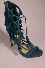 guess abria teal suede lace up fringe heels size 10 womens shoes 4400