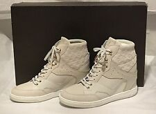 LOUIS VUITTON MONOGRAM LEATHER CREAM WEDGE CLIFF SNEAKER HIGH TOP SHOES 41 10.5