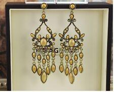 Handmade Fashion Antique Yellow Resin Gem & Shining CZ Hoop Dangle Earrings