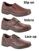 MENS BROWN COMFORT SHOES RIP TAPE SLIP ONS OR LACE UPS SIZES 7 8 9 10 11 12