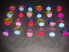 """Lot x10 Bagues Réglable Cadeau Fille Rose Coeur Rouge Bleu Rose Jaune """" Neuf """""""