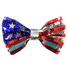 American Flag Red White & Blue Sequin Bow Tie