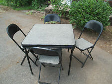 5pc. Folding Card Table and Chairs MID - CENTURY MODERN  black & white