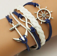 NEW Hot Plated Silver Infinite Love Anchor Leather Cute Charm Bracelet