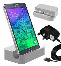 White Micro USB Desktop Charging Dock & Mains Charger For Samsung Galaxy S3 Mini