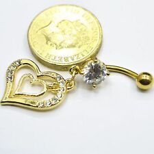 18K Yellow Gold PL Surgical Steel Heart CZ Piercing Button Navel Belly Bar Gift