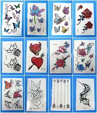 12 sheets temporary tattoo lotus flowers fox arrow fairy tramp stamp cover up