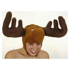 MOOSE HAT ELK DEER REINDEER BULLWINKLE W/ HORNS ANTLERS ANIMAL COSTUME HAT CAP
