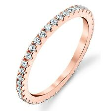 Sterling Silver Cubic Zirconia Pink Rose Gold Stackable CZ Wedding Bands Rings