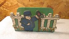 Antique folk Art Mail Man Wood Napkin Holder