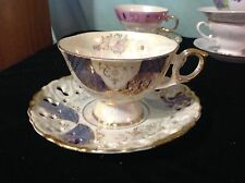 JAPAN CHINA FOOTED PIERCED RETICULATED CUP AND SAUCER BLUE GOLD LACE TRIM