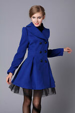Fashion Lady Slim Fit Wool Women Double Breasted Trench Warm Coats Dress Jacket
