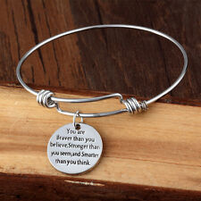 You Are Braver Than You Believe Smarter Than You Think Bangle Cuff Bracelet Gift
