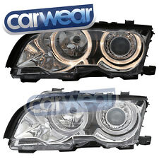 BMW E46 3-Series 2DR 98-01 Chrome Angel Eyes Head Lights 320Ci 323Ci 325Ci 328Ci