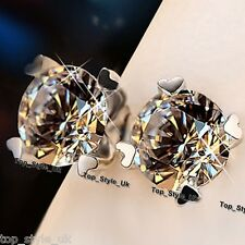 S925 Sterling Silver Round Crystal Diamond Earrings With 4 Mini Hearts Stud Gift