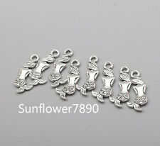 Free 15/50/250Pcs Plated Silver Gold Mermaid Charms Pendant Fit Bracelet 20x9mm