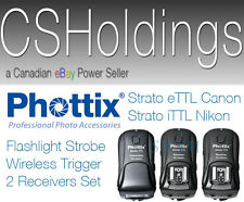 Phottix Strato eTTL e-TTL Canon 5D 6D 7D MK3 Wireless Trigger 2 Receivers Kit