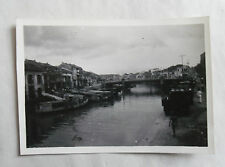 Vintage 40s/ 1947 B/W Photograph. Singapore #3. Bridge over River. Junks/ Homes