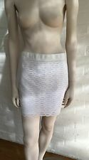 J Crew White Fan Eyelet With Lining 100% Cotton Mini Pencil Skirt 8 L LARGE