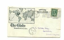 The Globe map on 1908 Private post card Leamington Ont. Canada
