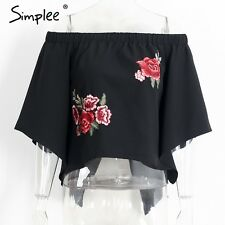Simplee Women Floral Embroidery Off Shoulder Blouse Shirt Flare Sleeve Crop Tops