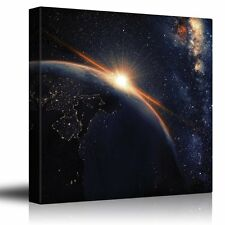 Wall26 - Sun Shining on Planet Earth From Outerspace - Canvas Art - 36x36 inches