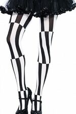 PSYCHEDELIC black & white Striped stockings beetle juice COSTUME stocking  8-12