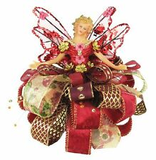 "Holiday Angel Christmas Tree Topper Top 7.5"" Red Burgundy Gold Ribbon Flower New"