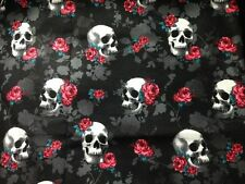 Roses on Skulls on Black Cotton Fabric ~ by the HALF YARD