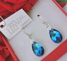 Aretes Swarovski Elements Almendra Bermuda Azul AB 16 mm plata esterlina 925