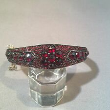 Antique Bohemian Sterling Silver Gold Wash Garnet Bangle Bracelet.