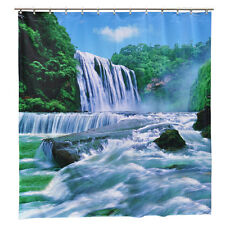 Waterfall Nature Shower Curtain Water Tropical Beach PVC Vacation