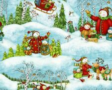 Fat Quarter Winter Woodland Snowmen Snowman Quilting Cotton Fabric - SPX