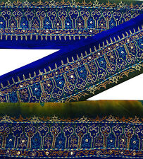 Vintage Indian Sari Border Used Embroidered 1YD Trim Sewing Blue Ribbon Lace