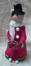 """Handcrafted Snowman Doll 8"""" Tall Red coat white scarf Christmas wreath Decor"""