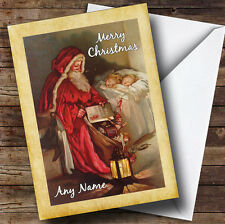 Traditional Santa Sleeping Children Personalised Christmas Card