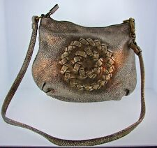 CHIC Bottega Veneta Leather & Suede Gold Mettalic Shoulder Bag